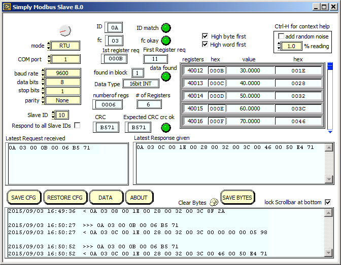 RTU/ASCII Slave Test Software | Simply Modbus Software